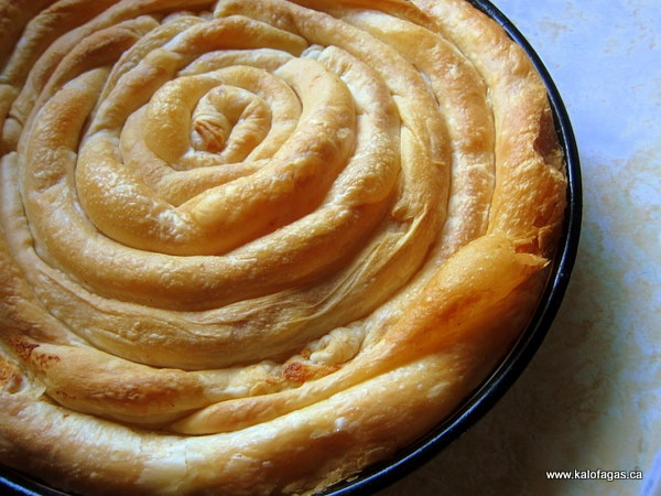Strifiti pita - Tyropita - Spiral cheese pie from Skopelos, Greece