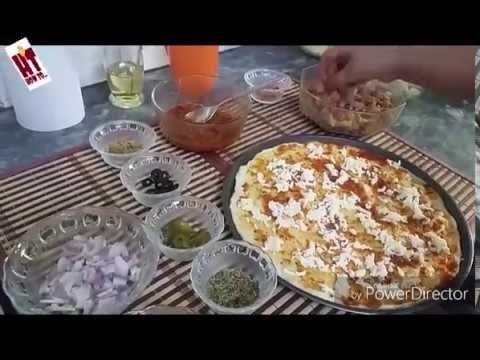 Easy Homemade Pizza Recipe Video - Chicken Fajita Pizza hindi
