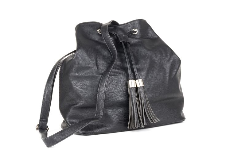 Greatbucket bag by DIANA FERRARIto hold all your essentials. Pebble texturesurface and drawcord closure with tassle detail. Long adjustableshoulder strap so you're hands free for all your other essentials - husband, boyfriend, children, phone, coffee, car keys...Inside there are two equal sized compartments divided by a zip. One wall has a zip pocket; the other has two cell phone size pockets. Black silky soft lining. The tassles on the drawcord are great - a de...