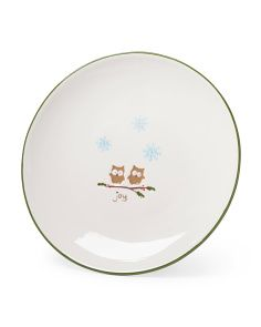 Set Of 4 Woodlands Joy Owl Plates