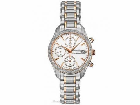 Seiko Ladies Swarovski Crystal Chrono - MOP Dial - Stainless w/ Rose Gold-Tone