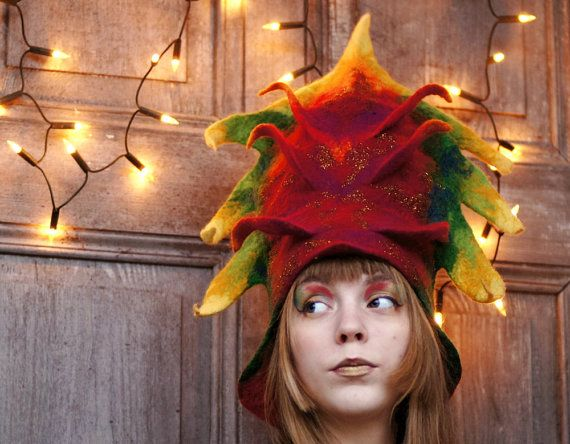 Carnival hat, designer hat, unique art hat, Christmas holiday, New Year hat, Costume hat, fancy felted hat with 3D elements, colorful. OOAK