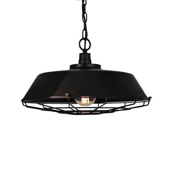 Vintage Industriële Hanglamp Zwart Cage Design - Woonkamer Lampen