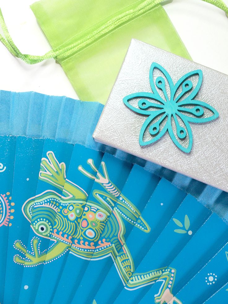 Abanicos de Marina, abanico pintado a mano personalizado, abanico azul rana, spanish fan blue frog