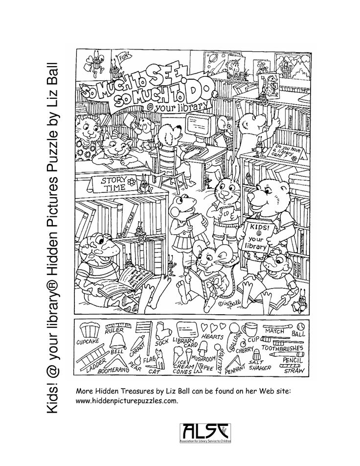 printable puzzles for adults | Kids your library® Hidden Pictures Puzzle by Liz
