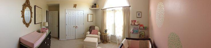 Modern Country Baby Girl Nursery-- Crib- Oeuf, Glider- Amazon, Dresser- Ikea, Rug- Home Decorators, Chandelier - Worlds Away, Curtains- Curtainworks