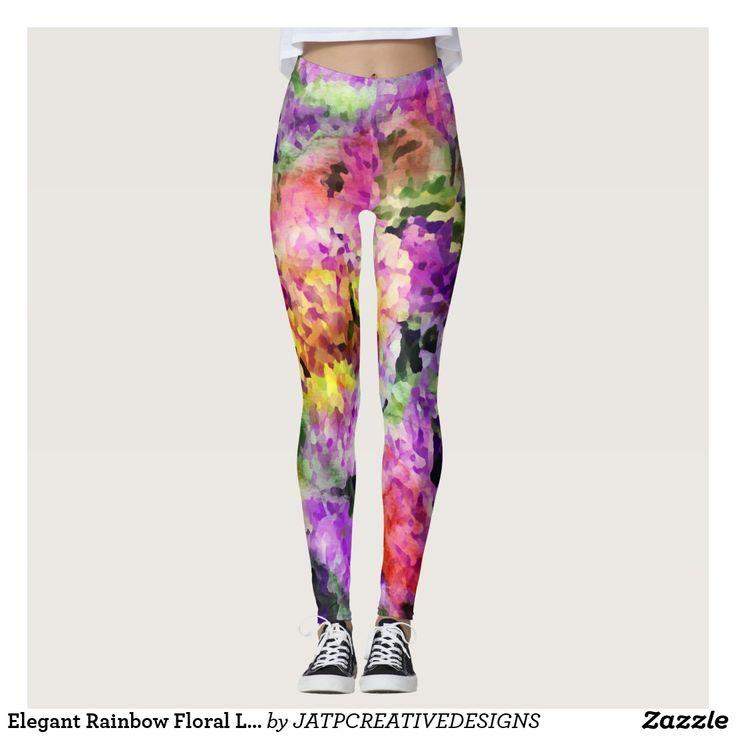 Elegant Rainbow Floral Leggings