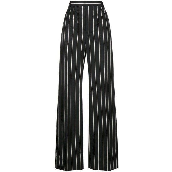 Balenciaga striped wide-leg trousers (£485) ❤ liked on Polyvore featuring pants, trousers, bottoms, balenciaga, calças, black, wide-leg trousers, high waisted striped pants, cotton pants and high waisted wide leg pants