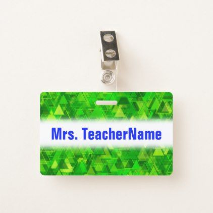 """""""Forest"""" of Green Triangle Shapes Pattern  Name Badge - light gifts template style unique special diy"""