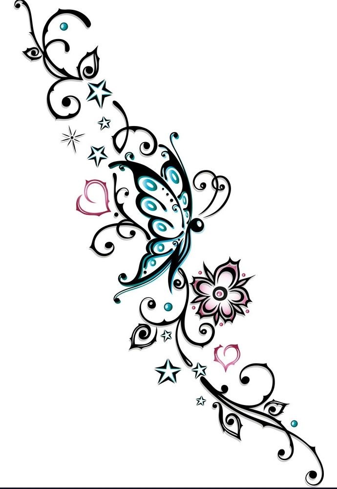 Tribal Flower Butterfly Tattoo Style Vector Butterfly Tattoo Anklet Tattoos Flower Tattoos