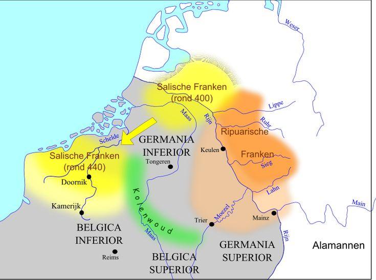 Tussen 400 en 440 expanderen de Salische Franken flink zuidwaarts. De Ripuarische Franken maken ook gebruik van het machtsvacuüm dat de Romeinen achterlaten.