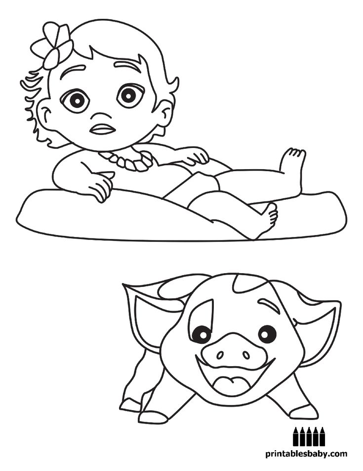Moana Printables Baby Free Cartoon Coloring Pages