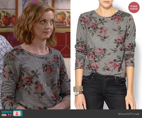 Debbie's grey rose print sweater on The Millers.  Outfit Details: http://wornontv.net/41177/ #TheMillers