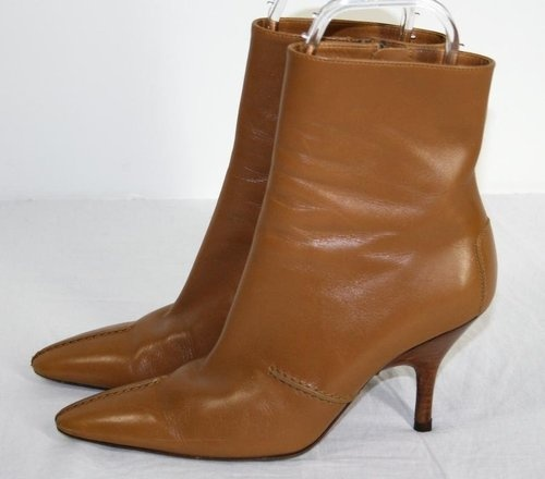 TOD'S Camel Tan Ankle Boots Whipstitching Detail Sz 7.5 LOVE!