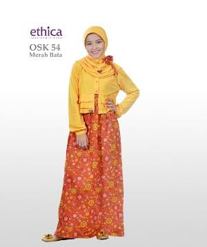 Baju Gamis Anak Ethica  OSK 54 MERAH BATA Ready Size 2 - 6