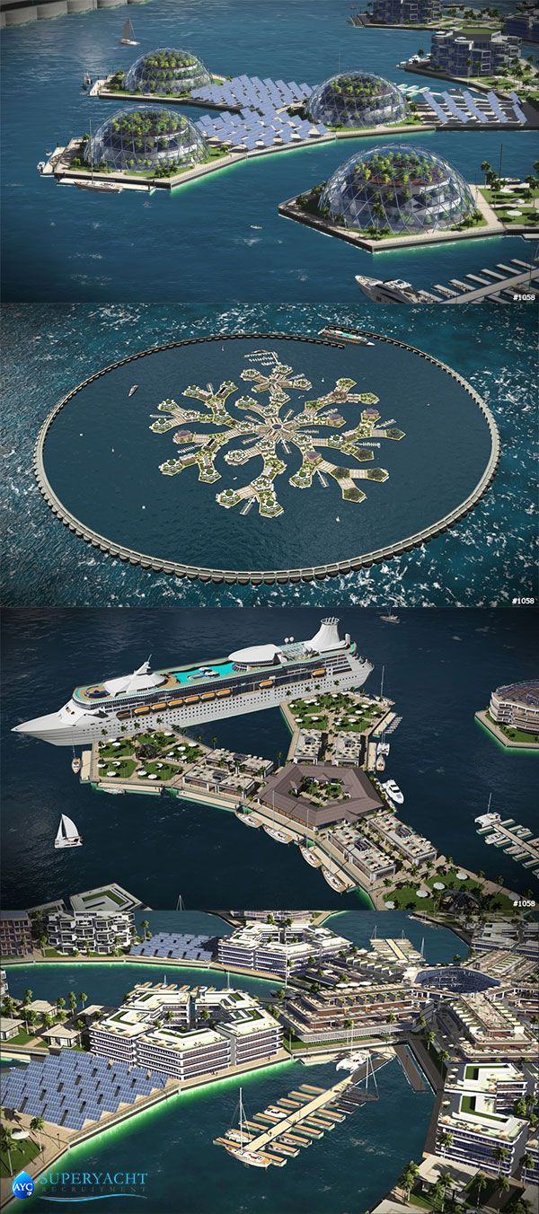 The city of the future incorporates floating islands, boat docks, aquaponic greenhouses, solar power farms and desalination plants to form a self sustaining, mobile city providing a unique experience of living at sea. Read More >> http://wp.me/p2sKPU-3Ct