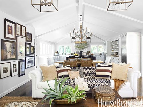 BM China white with Simply white. Executive Vice President of Pottery Barn and Williams-Sonoma brands, Monica Bhargava, takes us inside her globally-inspired California home and shows us how to layer personality into a room | Family Room
