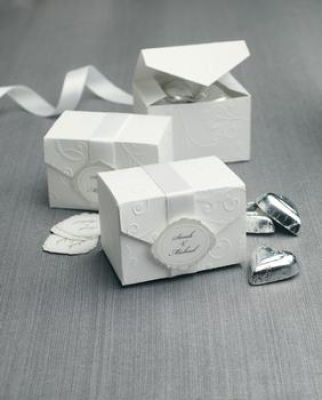 Michaels.com Wedding Department: BRIDES® White Pattern Box Favors, change ribbon to color of bridemaid dress