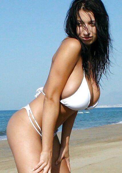 Jana Defi - white bikini - beach
