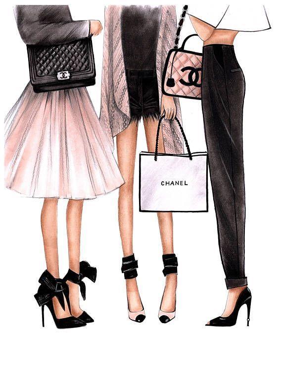 Fashion Illustration Chanel art Chanel print Fashion wall art Coco chanel art Ch…