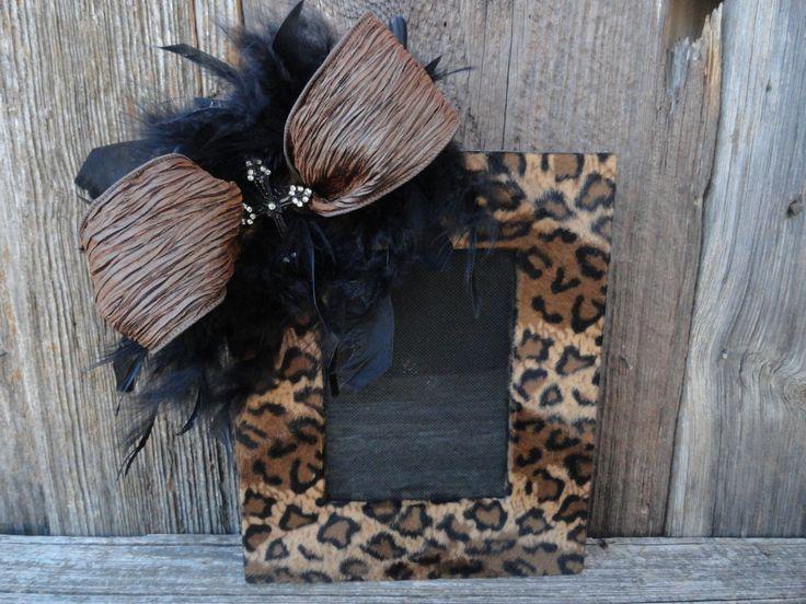 Frame/Decorative Frame/Leopard Print Frame/Feathers/Shabby Chic Frame/Animal Print Frame/Home Decor
