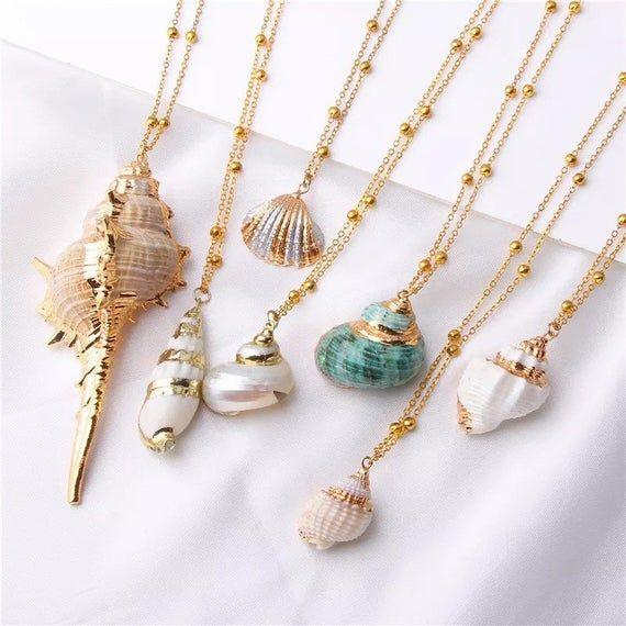 Beach Wedding Jewelry Summer Jewerly Set Bridesmaid Gift Mermaid Jewelry Small Shell Jewelry Set Gift Mom Beach Lover Boho Gift Set