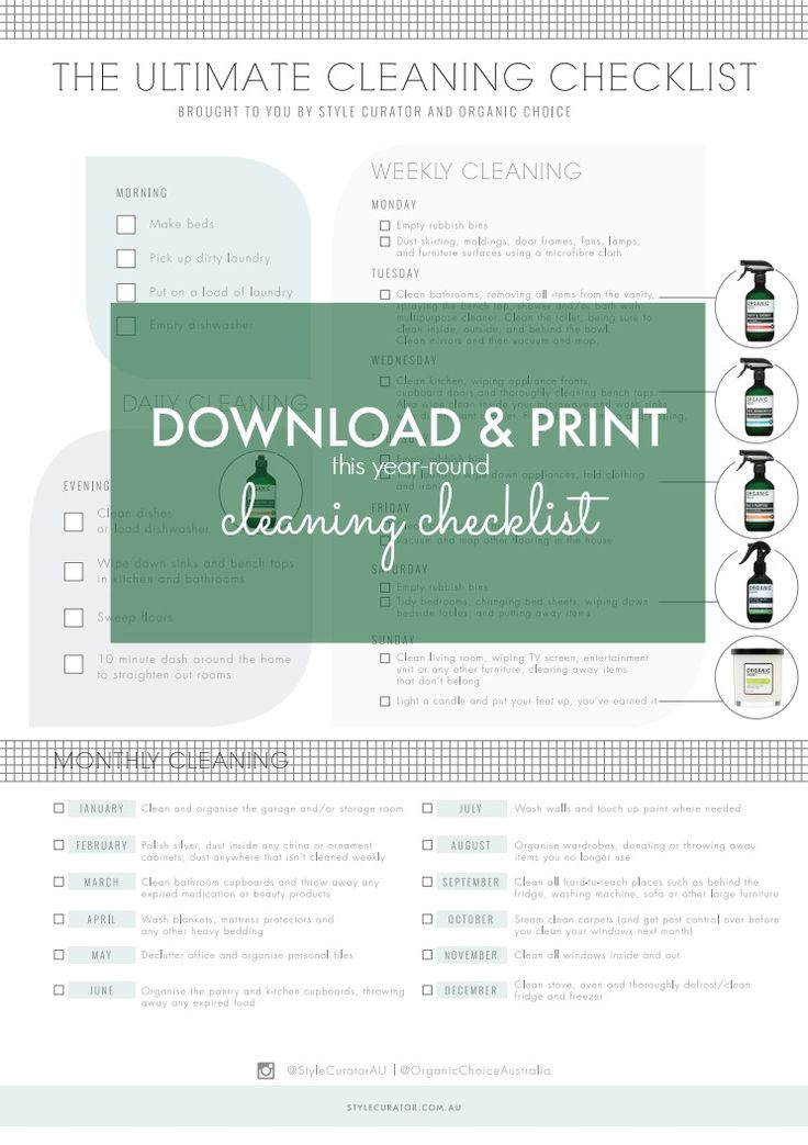 We've created a gorgeous FREE cleaning checklist you can print out and keep on your fridge. Not only will it help you stay on top of your house cleaning, you can more easily delegate jobs to other members of your household. Get your free copy now by clicking on the image above ^^