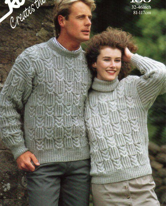 04893bc15d7f U8055 Womens Aran Sweater Mens Aran Sweater Ladies Aran Sweater Crew or Polo  Neck 32-46inch Aran Yarn Unisex Knitting Pattern PDF instant download  PLEASE ...