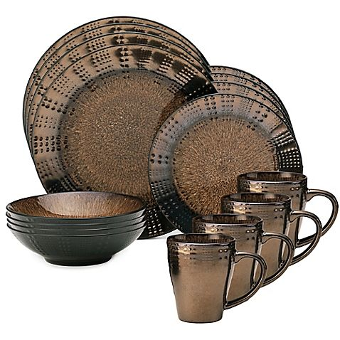 The handcrafted 16-Piece Verona Dinnerware Set from Mikasa features a reactive glaze that exudes an cool and unique sheen. Raised dots along the borders and rims of each piece give this collection a contemporary feel.