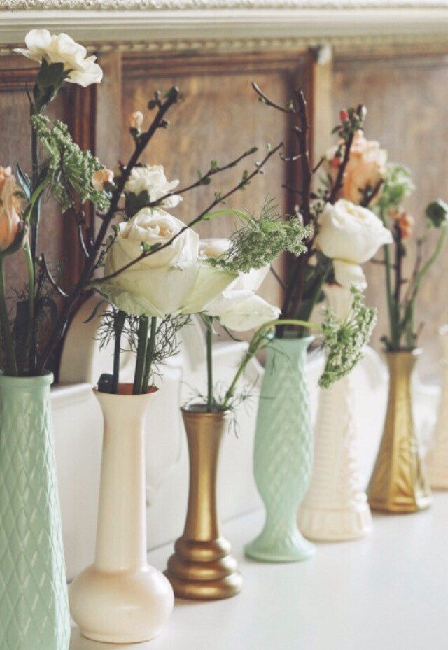 Bud Vases, Gold Wedding, Mint Peach, Mint Gold Wedding, Mint Peach Gold Decor, Mint Vase, Peach Vase, Gold Vase, Bud Vases, Gender Reveal by TheBarnett on Etsy https://www.etsy.com/listing/271319980/bud-vases-gold-wedding-mint-peach-mint