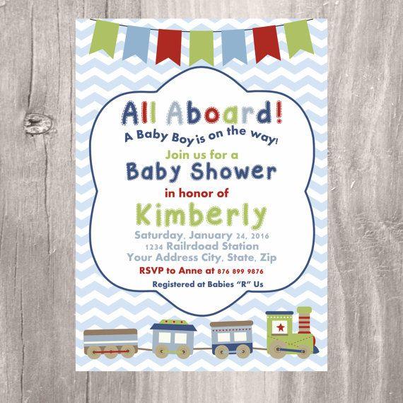 Train Baby Shower Invitation Printable Baby Blue Train