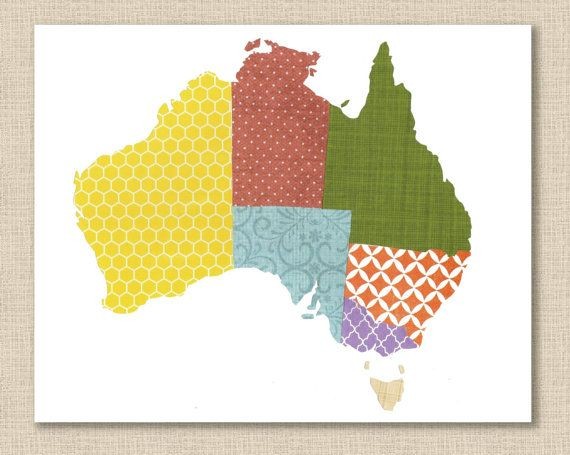 Australia Map Collage Print by Whitehall Shop
