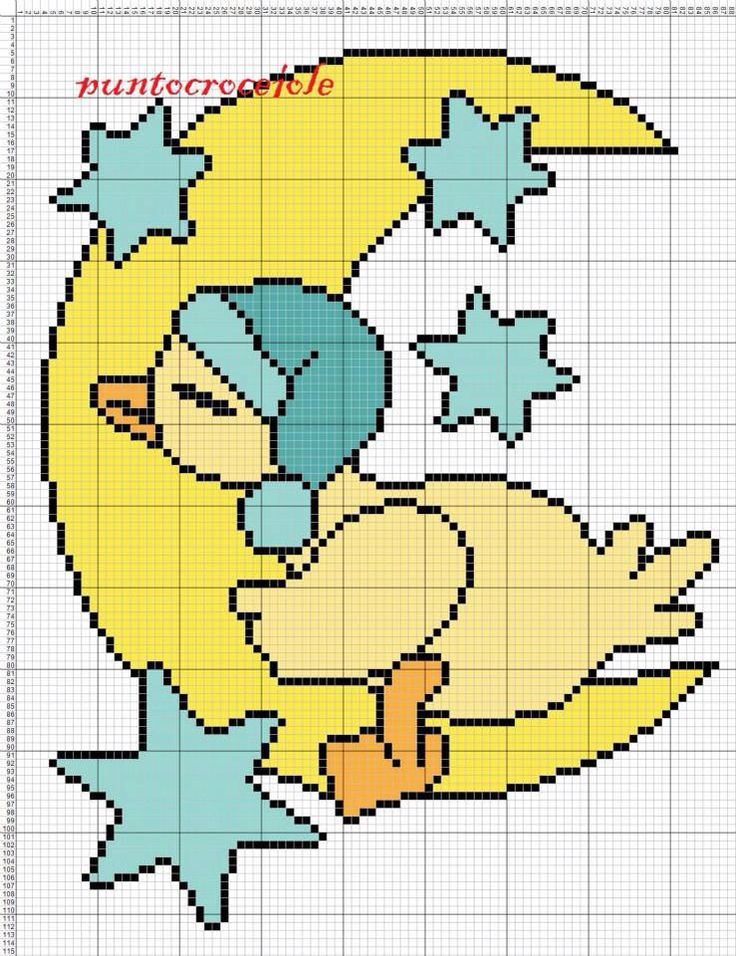Baby duck on moon x-stitch