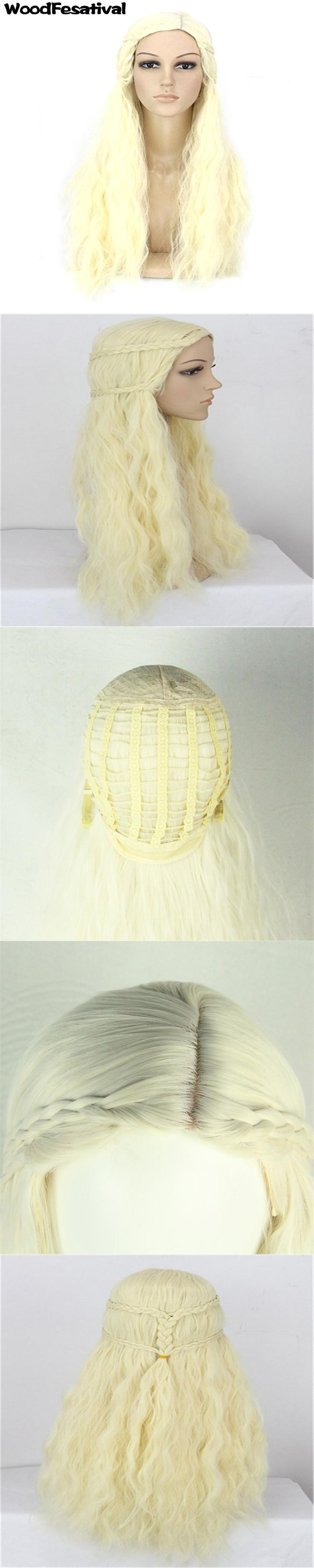 heat resistant anime wigs long platinum wig curly synthetic wigs for women blonde wig ponytail WoodFestival