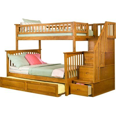 Solid wood stairway twin over full brazilian pine bunk beds with 2 extra drawers for added storage or can be separated into one twin and one full size bed - 4 drawers built into stairway for added storage - this bunk bed model has been tested by an independent laboratory - finish is child-safe - all wood is fully sanded and protected with a clean smooth coating to prevent cracks and splinters - solid brazilian pine no particle board.