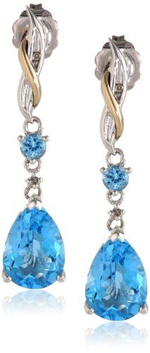 S&G Sterling Silver and 14k Yellow Gold Diamond and Swiss Blue Topaz Pear Shape Drop Earrings (0.01cttw, I-J Color, I3 Clarity):