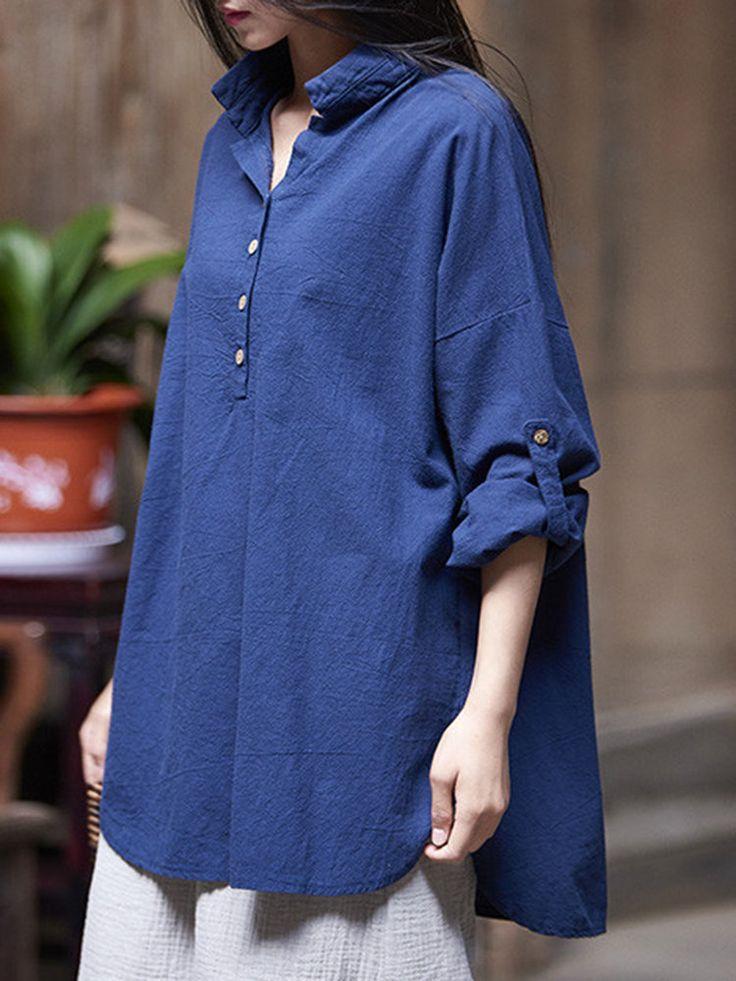 O-NEWE Casual Women Solid Lapel Long Sleeve High Low Shirt