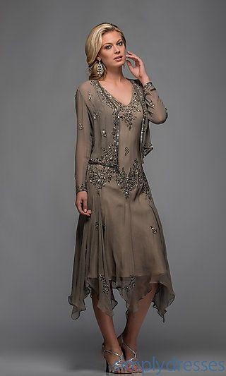 Tea Length Mother Groom Dresses | Neck Tea Length Dress at PromGirl.com