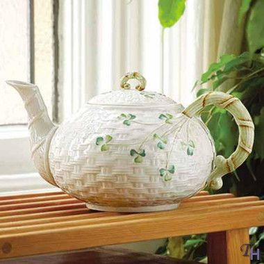Tea tastes so much better when served from this Belleek Shamrock Tea Pot.