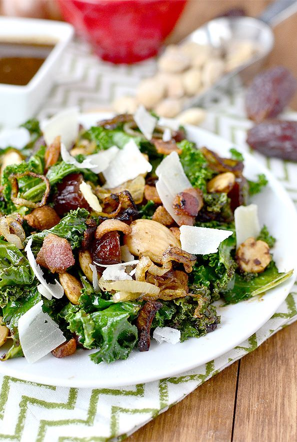 Warm Kale Salad With Bacon, Dates, Almonds, Crispy Shallots, and Parmesan