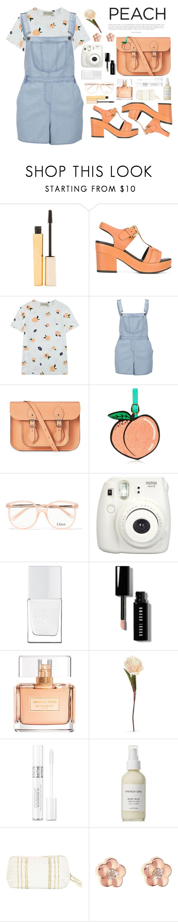 """""""Peachy"""" by jackicleaveland ❤ liked on Polyvore featuring Stila, Cotélac, Être Cécile, Influence, The Cambridge Satchel Company, Chloé, Fujifilm, The Hand & Foot Spa, Bobbi Brown Cosmetics and Givenchy"""