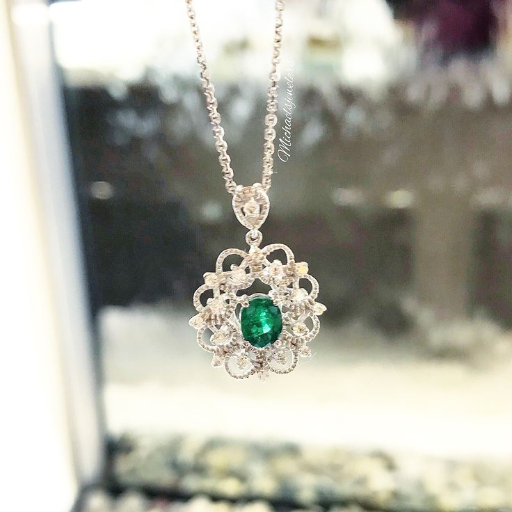 This beautiful Emerald and Diamond necklace is available at our Westfarms location!💚 #MichaelsJewelers #Emerald #Diamonds #Necklace