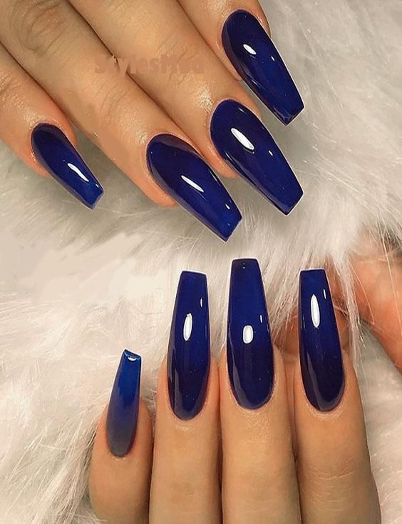 Excellent Glossy Dark Blue Nail Polish Amp Style Tips For 2019 Blue Acrylic Nails Dark Blue