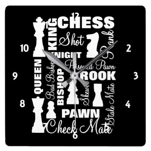 Chess Players Typography Design Square Wall Clock