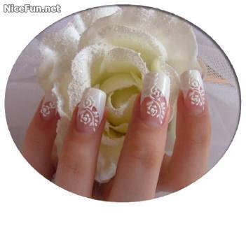 ♥♥♥: Girls Nails, White Rose, Summer Nails, Nail Design, Uña, French Nails, Wedding Nails Design, Nails Art Design, Nail Art