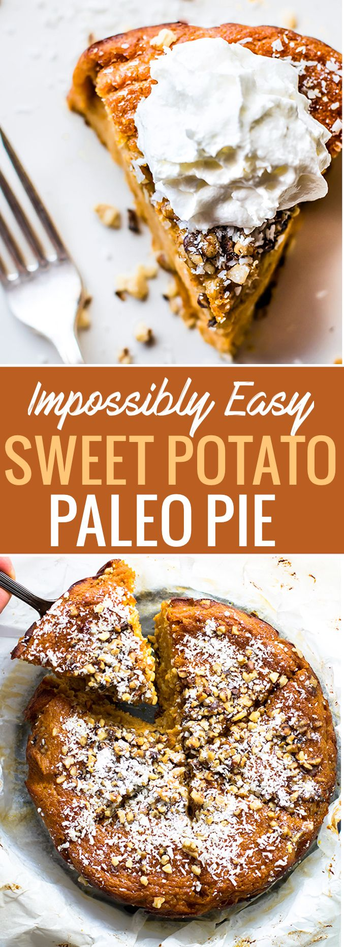 Impossibly EASY Paleo Sweet Potato Pie with coconut! A Paleo sweet potato pie recipe that's IMPOSSIBLE to mess up! Made with simple healthy ingredients! A paleo sweet potato pie that miraculously forms its own crust while baking. www.cottercrunch.com