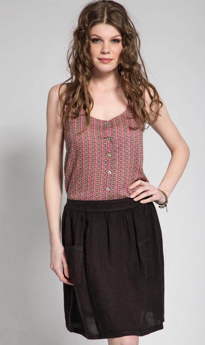 Lino / Clandestino Black Linen Basic Skirt / Clandestino Siyah Keten Etek