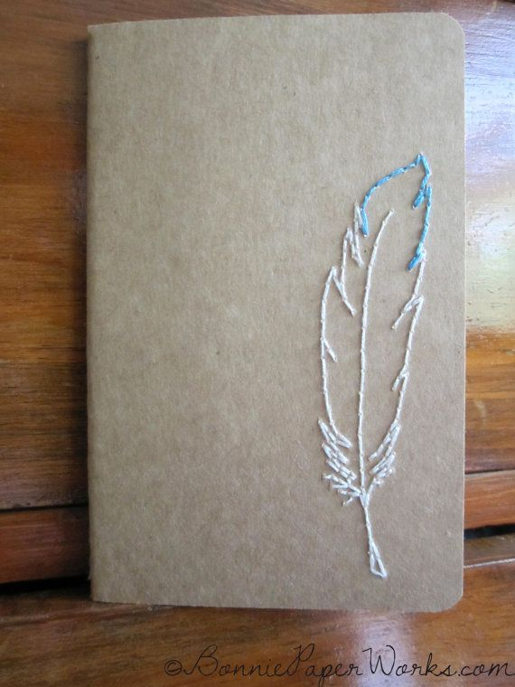 FEATHER Made to Order Hand Embroidered Notebook by BonniePaperWorks on Etsy, $9.99