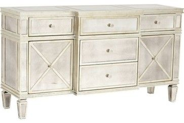 Credenza Mirrored 2 Door 5 Drawer - eclectic - buffets and sideboards - High Fashion Home