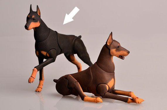 BJD dog Doberman. Scale 1/9 8 cm at the withers. by ElleoDolls